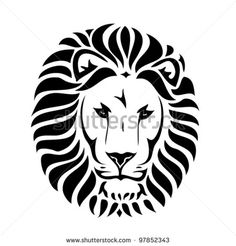 Tribal Lion Head Tattoo - Vector Illustration - 97852343 ...