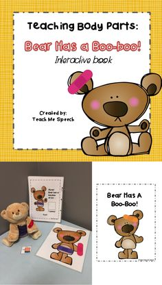Looking for an activity to teach your younger students body parts?   This interactive book has repetitive phrasing and body part/ band-aid pictures to velcro into the book to keep those Early Intervention, Pre-School, and Kindergarten kiddos engaged! It's simple language and use of early developing sounds makes it easy for little ones to participate and is visually clean to prevent distractibility.   You can have your students match, identify, and label 8 body parts. It can be used in groups…