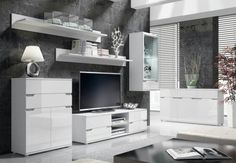 Aspire High Gloss White Lounge Furniture Sideboard TV Unit Tall Display Cabinet in Home, Furniture & DIY, Furniture, TV & Entertainment Stands Tall Sideboard, Sideboard Furniture, Living Room Furniture Uk, Lounge Furniture, Diy Furniture, Tv Wall Shelves, Alaska, Tv Entertainment Stand, White Lounge