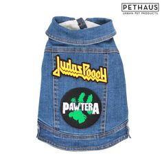 Denim battle jackets for dogs with custom pethaus rock patches, Bark Sabbath…