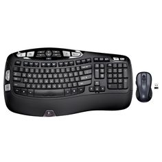 Logitech Wireless Wave Combo With Keyboard and Laser Mouse An ergonomically designed keyboard with a comfort wave design and a contoured laser mouse, the Buy Computer, Computer Keyboard, Computer Mouse, Logitech, Bluetooth Keyboard, Wireless Speakers, Hardware Software, Wave Design, Technology