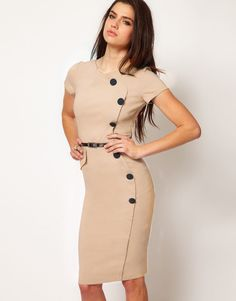 This Fitted Bodycon Dress is very popular and sexy design, we believe you will like it very much! It is fashionable and comfortable. Vintage pinup button fitted bodycon dress is made of high quality c Simple Frocks, Work Wear Office, Office Style, Beige Dresses, Midi Dresses, Pencil Dresses, Dresses For Work, Summer Dresses, Prom Party Dresses