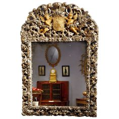 Charles II Silver Gilt Mirror | From a unique collection of antique and modern wall mirrors at https://www.1stdibs.com/furniture/mirrors/wall-mirrors/