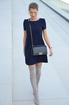 Zara Dress, Stuart Weitzman Overknee Boots