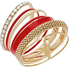 Thalia Sodi Gold-Tone Red Crystal Tassel Bangle Bracelet Set (25 BAM) ❤ liked on Polyvore featuring jewelry, bracelets, accessories, red, stackers jewelry, bangle jewelry, crystal jewelry, gold tone bangles and gold tone jewelry
