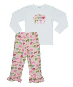 Look what I found on #zulily! White & Pink Elephant Tee & Pants - Infant, Toddler & Girls by Silly Goose #zulilyfinds