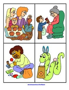 """FREE Tell a Halloween Story - a set of 8 oral language picture prompt cards plus a worksheet for each card with the theme of """"A Family Halloween"""".  - repinned by @PediaStaff – Please Visit ht.ly/63sNtfor all our ped therapy, school psych, school nursing & special ed pin"""
