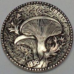 DIMAS SÁNCHEZ MORADIELLOS HOBO NICKEL - PLEUROTUS ERYNGII - 1936 BUFFALO NICKEL Old Coins, Rare Coins, Sculpture Art, Sculptures, Custom Coins, Art And Craft, Hobo Nickel, Coin Art, Mushroom Art