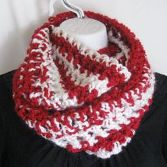 "Handmade Infinity Loop Red and White Crochet Scarf Cowl Scarf 50"" - Perfect for the upcoming holiday season!"