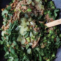 Adding freshly chopped lime or lemon flesh to a salad will be a revelation to those who haven't tried it before. Against the mild and nutty quinoa, it makes a simple salad sing. This is a small meal in its own right but can be fortified further by adding nigella or pumpkin seeds, toasted walnuts, goat cheese, and oven dried tomatoes.
