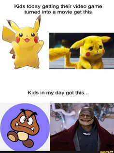 Video Game Movies Then and Now - Penguin Funny - Funny Penguin meme - - Pikachu Video Game Movies Then and Now The post Video Game Movies Then and Now appeared first on Gag Dad. Funny Cute, Really Funny, Funny Jokes, Hilarious, Funny Stuff, Funny Facts, Funny Things, Pokemon Memes, Detective