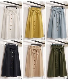Gogoyouth Summer Skirts Womens 2018 New Midi Knee Length Korean Elegant Button High Waist Skirt Female Pleated Sun School Skirt 6 Look Fashion, Hijab Fashion, Fashion Dresses, Fashion Design, Fashion Ideas, Modest Outfits, Skirt Outfits, Casual Outfits, Grunge Style