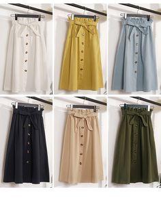 Gogoyouth Summer Skirts Womens 2018 New Midi Knee Length Korean Elegant Button High Waist Skirt Female Pleated Sun School Skirt 6 Look Fashion, Skirt Fashion, Hijab Fashion, Fashion Outfits, Cute Skirts, Mini Skirts, Modest Dresses, Casual Dresses, Hijab Styles