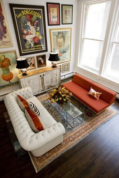 Gorgeous Living Room - Chesterfield Sofa + Black Shades + Art