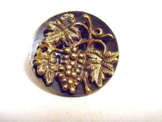 Metal Picture Button With Grape Cluster by RuralRetreatVintage on etsy.