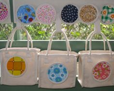 children's small carry bags with fabric circles, hanging on a velcro panel Carry On Bag, Circles, Kids Toys, Centre, Children, Fabric, Bags, Inspiration, Ideas