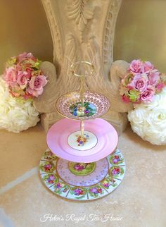 Pink Courting Couples Tier, 3 tier cake stand for cupcakes, sweets, savories, appetizers, tid bits, jewelry, wedding, bridal, sweet sixteen