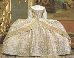 Queen Louisa Ulrica's coronation gown of 1751.The robes de cour in the Swedish Royal collection are all in pristine condition: this results from their only having been worn once & then packed away. In the 18th century all clothing was kept in presses (ie. large cupboards containing wide sliding drawers) or trunks & was thus kept flat with no vertical strain on the materials.