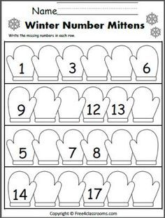 Free Winter Number Writing Worksheet. Write the missing numbers on the mittens. Numbers less than 20.