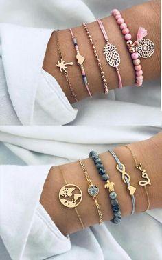 Set of 5 too cute bracelets - Trendthemen - Set of 5 Armbänder Trop Mignon . - Set of 5 too cute bracelets – Trendthemen – Set of 5 Armbänder Trop Mignon # Armbänder - Diy Jewelry To Sell, Cute Jewelry, Beaded Jewelry, Handmade Jewelry, Women Jewelry, Fashion Jewelry, Jewelry Making, Jewellery, Jewelry Wall