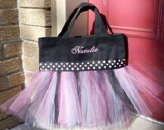 Child's Embroidered Dance Bag - Black Tote Bag with Black and Pink Polka Dot Ribbon Personalized MINI Tutu tote bag - MTB2 - EST