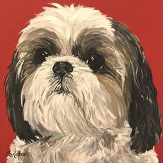 Shih Tzu art print from original Shih Tzu painting, Shih Tzu dog art. Canvas or paper prints by HippieHoundUSA on Etsy