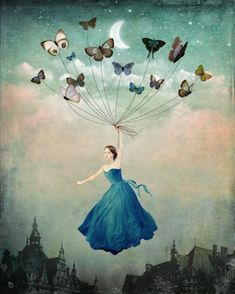 """""""Leaving Wonderland"""" by Christian Schloe - Buy """"Leaving Wonderland"""" as Poster by Christian Schloe and many more photos, posters and art prints on ARTFLAKES. Butterfly Art, Butterfly Painting, Butterfly Balloons, Madame Butterfly, Pop Surrealism, Religious Art, Surreal Art, Art Plastique, New Art"""