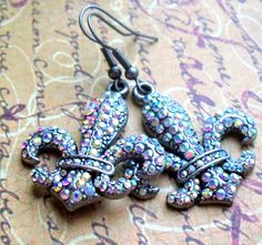 Fluer De Lis Rhinestone Earrings by MarcheseCreations on Etsy, $15.00