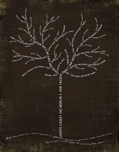"Family Tree - ""Like branches on a tree, we grow in different directions.  Yet our roots remain as one.  Each one of us will always be a part of the other.""  or....""Like branches on a tree, we all grow in different directions, but our roots keep us all together."""