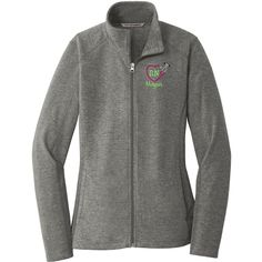 Rn Heart Stethoscope Monogrammed Ladies Heather Microfleece Full-Zip... ($32) ❤ liked on Polyvore featuring activewear, black and women's clothing