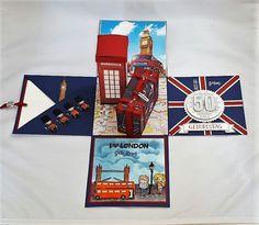 Eine Londonreise wird verschenkt. Das Geburtstagskind wünscht sich von seinen Gästen eine finanzielle Unterstützung. Da bietet es sich an, das Geld in eine Explosionsbox /Geldkoffer zu packen. Hier siehst Du nun meine Idee, um ein wenig London und Money nett zu verpacken... #Explosionsbox #Geldgeschenk #London #Reise #Urlaub #Stampinup #stempelliese.com #Explodingbox #Telefonzelle