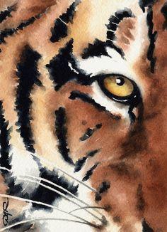 TIGER Wildlife Art Print Signed by Artist DJ by k9artgallery   WATERCOLOR