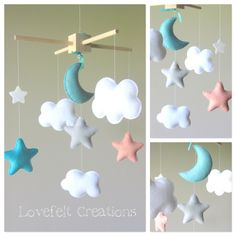 Baby Crib Mobile - Baby Mobile - Aqua Coral Mobile - Custom baby mobile - Pick your colors :) by LoveFeltXoXo on Etsy https://www.etsy.com/listing/194837495/baby-crib-mobile-baby-mobile-aqua-coral