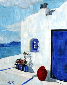 White House In Santorini Print by Maria Soto Robbins