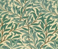 Willow Boughs Minor Fabric Small climbing willow leaf printed cotton in green on beige