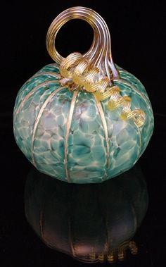 Teal Pumpkin Glass Paperweight