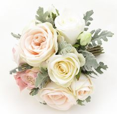 Medium posy of peach English Roses, dusty miller and cream/pink Garden Roses.