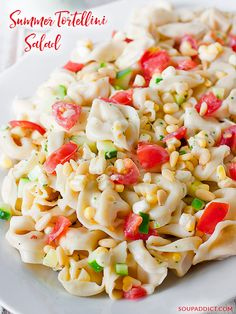 The perfect dish to bring to picnics, potlucks, grill-outs — all your summer gatherings. This vegetable-loaded tortellini salad with homemade buttermilk dill dressing is an easy weeknight meal, too! Recipe at SoupAddict.com