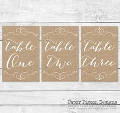 Rustic Burlap Calligraphy Table Numbers-Printable Table Number-DIY Burlap Wedding Table Numbers-Rustic Wedding Decorations 1 through 10 by PaperPigeonDesigns on Etsy