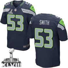Malcolm #Smith Seattle #Seahawks #Men's Elite Navy #Blue Team Color #SuperBowl XLVIII #Jersey Nike NFL #53 Home #cheapjerseys