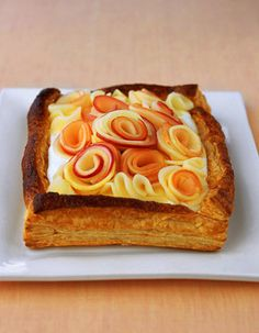 buttermilk tart with apple roses