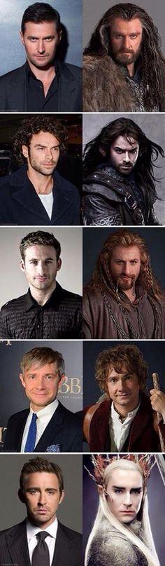 Thorin - Richard, Kili - Aidan, Fili - Dean, Bilbo - Martin, Thandruil - Lee