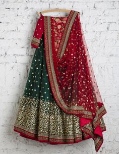 SwatiManish Lehengas SMF LEH 152 17 Deep green lehenga and red dupatta with red treadwork blouse