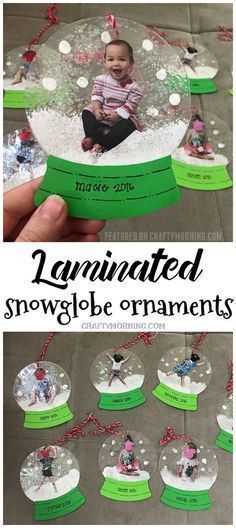 Laminated snowglobe ornaments for kids to make for Christmas gifts/crafts! You can personalize them! #christmasornamentcrafts
