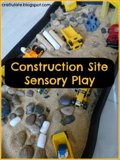 Construction Site Sensory Play from Craftulate #playmatters #boys I got out a boot/plant tray and added coarse sand, rocks, and old grains from the pantry(amaranth, bulghar wheat). Then I added a variety of construction site vehicles, construction workers and a crane. Oh, and a hat for F to wear. Possibly. I put all this on a shower curtain on the floor just in case things got messy! F's face lit up when he saw