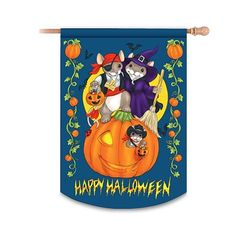 "Charming Tails Happy Halloween Flag by The Hamilton Collection by Hamilton. $22.99. This Halloween flag is beautifully crafted of durable, waterproof polyester and double-sided for exciting views from any angle. Features the adorable mouse imagery of artist Dean Griff - Maxine and friends dressed in spooky costumes as they stand on a giant, flying pumpkin. The warm message, ""Happy Halloween"" and a festive border complete this Charming Tails flag. We offer generous guarantees on ..."