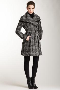 Vince Camuto Tweed Leather Trim Coat