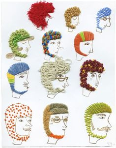 Inspiration for a stitch sampler.  Print the same face 9 or 12 times on card stock, give kids a variety of floss colors and see what happens.