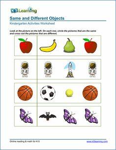 Kindergarten same vs different worksheets