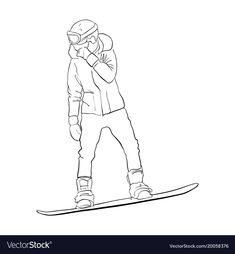 vector drawing snowboarder, linear sketch, hand drawn illustration. Download a Free Preview or High Quality Adobe Illustrator Ai, EPS, PDF and High Resolution JPEG versions.